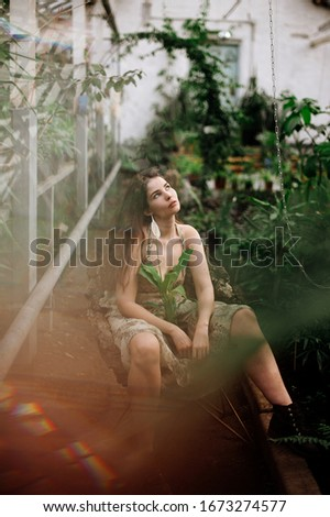 Elegance. Stylish Brunette in Light Sundress posing. Fashion Style Stock photo © gromovataya