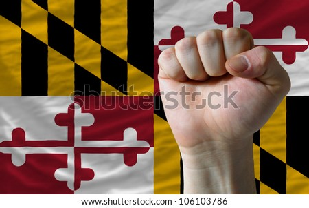 Complete Waved Flag Of American State Of Maryland For Background Stockfoto © vepar5