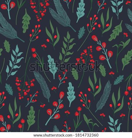 natal · baga · folhas · escuro · verde · natureza - foto stock © mcherevan