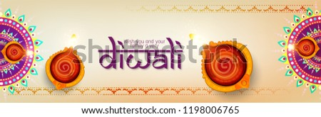 Diya Beautiful illuminating colorful diwali background vector Stock photo © bharat