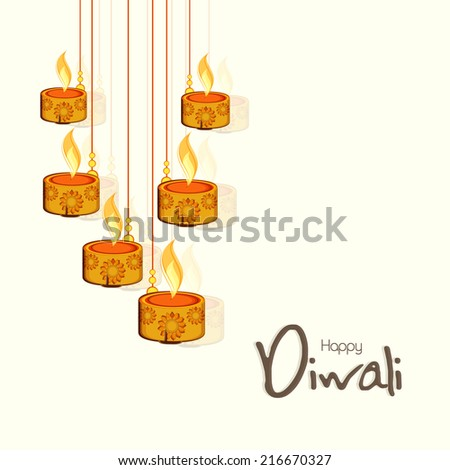 Illuminated oil lamp on beautiful diwali festival colorful backg Stock photo © bharat