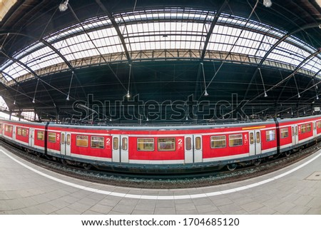 classicistic trainstation in Wiesbaden with trains and a beautif Stock photo © meinzahn