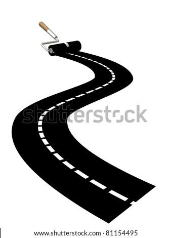 paint roller ink highway illustration design over a white backgr Stock photo © alexmillos