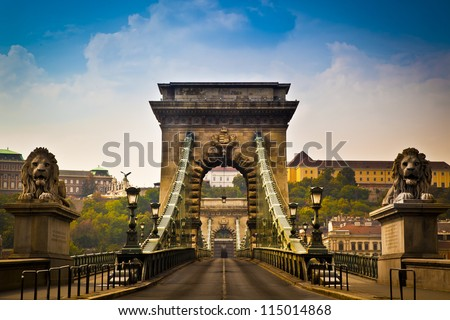 the szechenyi chain bridge is a beautiful decorative suspension stock photo © bloodua
