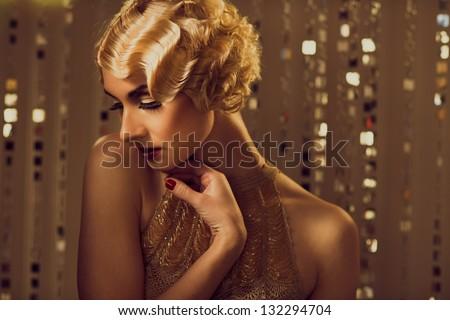 elegáns · szőke · retro · nő · arany · ruha - stock fotó © nejron
