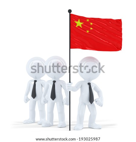 business team holding flag of china isolated contains clipping path stock photo © kirill_m