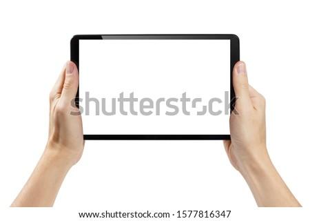 Mann halten Tablet Hände Gerät Porträt Stock foto © unkreatives