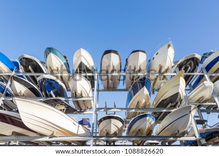 speed motor boats are stapled in a garage system in the prestigi Stock photo © meinzahn