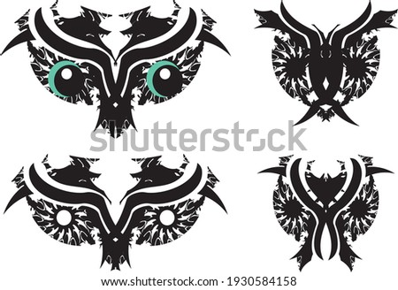 Four black ornaments on white background. Can be used as invitat Stock photo © leonido