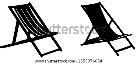 vector illustration of an adirondack chair on the beach at blue mountain lake stock photo © brittenham