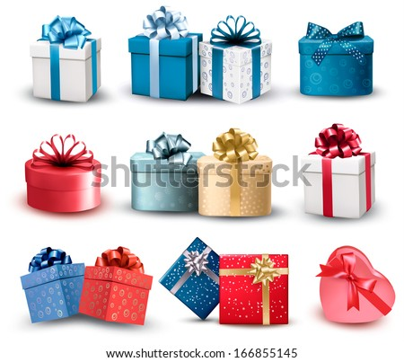 gift box with red ribbon hearts and tag label isolated on whi stock photo © tetkoren