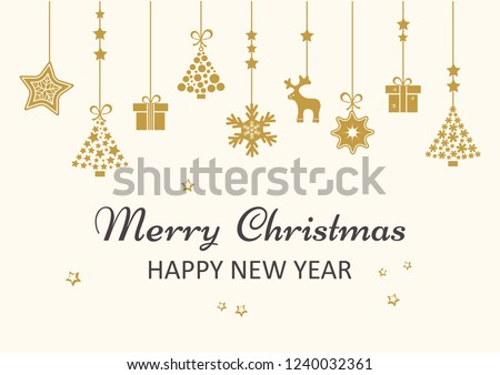 Merry Christmas, and Happy New Year! Card.  art. ball toy. bow-knot ribbon Stock photo © rommeo79