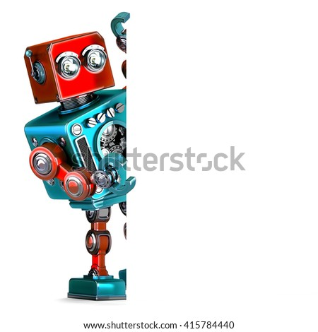 Retro Robot with blank banner. 3D illustration. Isolated. Contai Stock photo © Kirill_M
