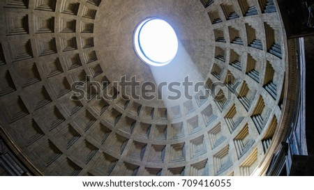 Stock photo: The Pantheon, Rome, Italy. Light shining through an oculus in the ceiling