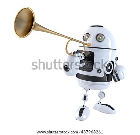 Robot trumpet player. Technology concept. 3D illustration. Conta Stock photo © Kirill_M