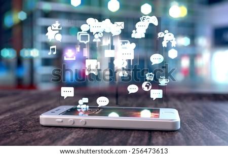 Közösségi média fa asztal szó iroda technológia üveg Stock fotó © fuzzbones0