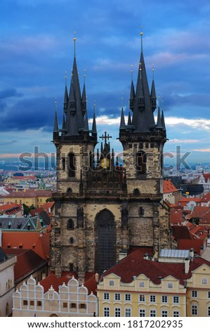 aerial view of the narrow streets prague old town czech republ stock photo © kirill_m