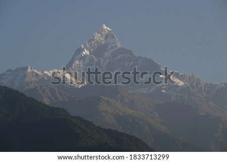 mountains of Himalaya seen from Pokhara in early morning light Stock photo © meinzahn
