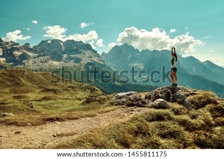 Stock photo: Panoramic view of Dolomites mountains around famous ski resort C