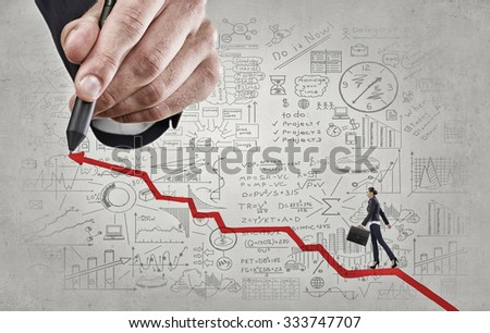 Businesswoman drawing rising graph for positive business results Stock photo © stevanovicigor