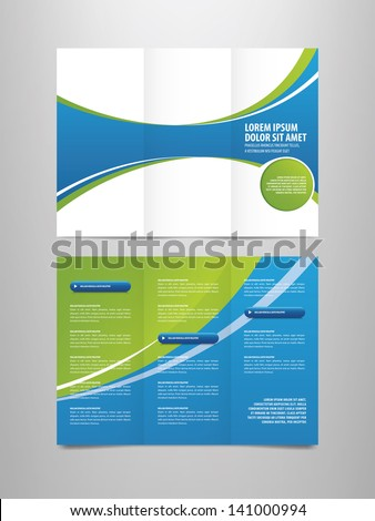 Blank tri-fold brochure vector template isolated on white backgr Stock photo © tuulijumala