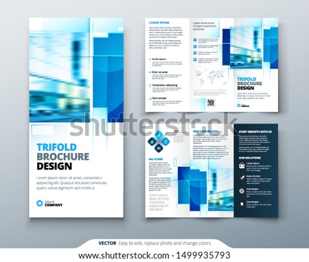 clean tri-fold brochure template design with blue mosaic effect Stock photo © SArts