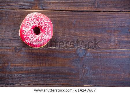 写真 おいしい ドーナツ 素晴らしい ブラウン 木製 ストックフォト © Massonforstock