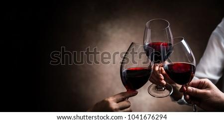 şarap bardakları siyah ayarlamak Retro şarap soyut Stok fotoğraf © neirfy