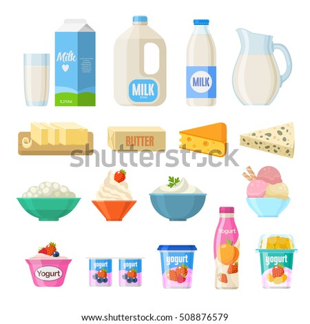 vector flat style illustration of milk packing and a glass of m stock photo © curiosity