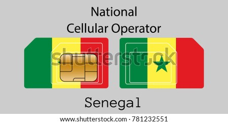 Senegal mobile operator. SIM card with flag. Vector illustration. Stock photo © Leo_Edition