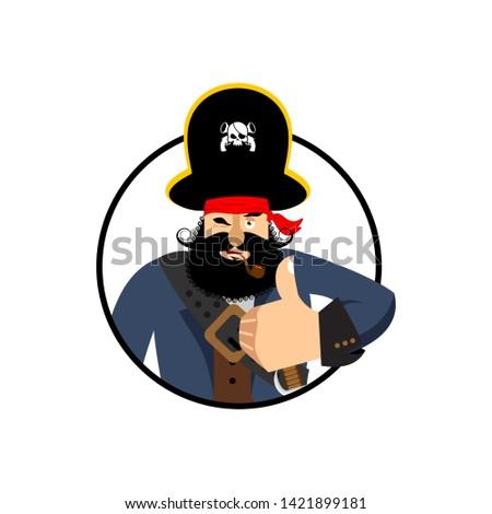 Pirate thumbs up. filibuster winks emoji. buccaneer cheerful. Ve Stock photo © popaukropa