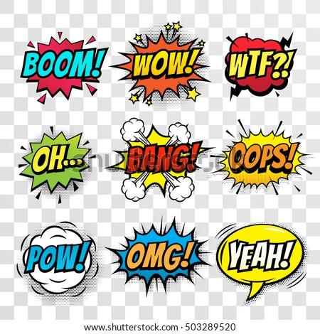 wtf comic sound comic speech bubble halftone transparent back stock photo © pashabo