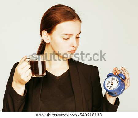 young beauty woman in business style costume waking up for work stock photo © iordani