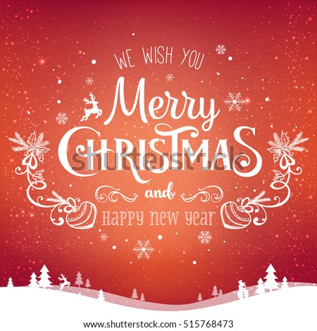 Christmas Background with Typography and Shiny Glittered Snowflake and Holiday Light Garland on Whit Stock photo © articular