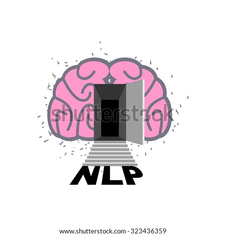 NLP logo. Brain with door open. Log into my consciousness. Vecto Stock photo © popaukropa