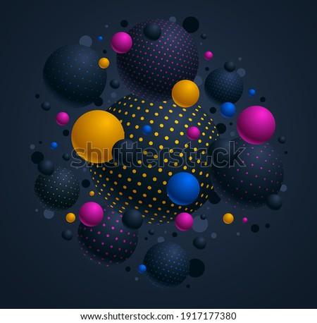 Photo stock: Coloré · sphère · vecteur · lumineuses · pointillé · résumé