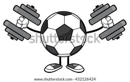 Futbol topu karikatür maskot karakter dambıl yalıtılmış Stok fotoğraf © hittoon