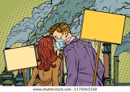 A couple of man and woman protesting against air pollution facto Stock photo © studiostoks