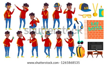 teen boy poses set vector black afro american activity beautiful for postcard cover placard d stock photo © pikepicture
