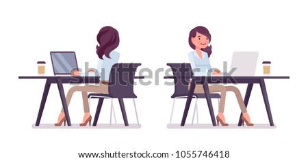 A beautiful young girl is sitting at the office table with documents and a pen in her hands, and is  Stock photo © Traimak