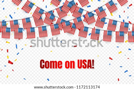 USA garland flag with confetti on transparent background, America Hang bunting for celebration templ Stock photo © olehsvetiukha