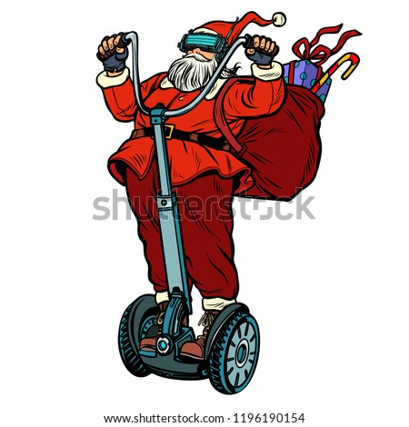 Santa Claus in VR glasses, with Christmas gifts rides an electri Stock photo © studiostoks
