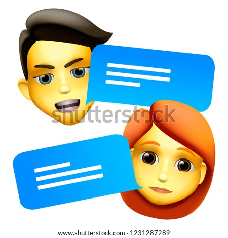 Chat bot man and woman emoji concept. Modern style cartoon character icon design. Dialog help servic Stock photo © ikopylov