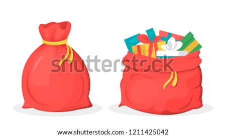 Cute Christmas Santa Claus with Toy Sack Cartoon Vector Illustration Stock photo © jeff_hobrath