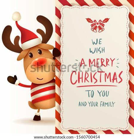 северный олень большой веселый Рождества каллиграфия дизайна Сток-фото © ori-artiste