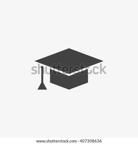 White Graduation Cap icon on black app web button, vector