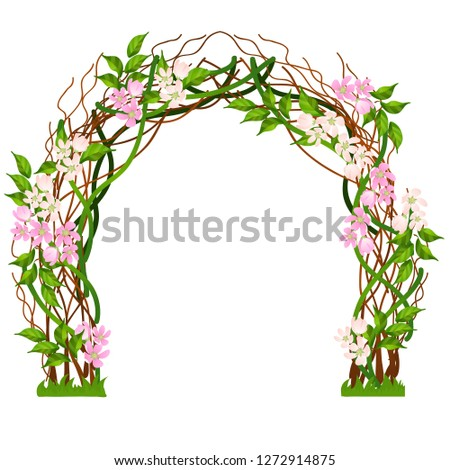 Wedding arch decorated with pink flower buds isolated on white background. Vector cartoon close-up i Stock photo © Lady-Luck