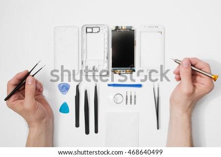 Mobiele telefoon tools houten telefoon hout tabel Stockfoto © OleksandrO