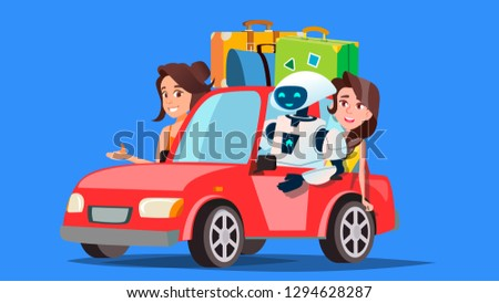 Robot And People Travelling By Car With Suitcases Vector. Autonomous Car. Isolated Illustration Stock photo © pikepicture