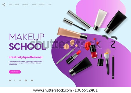 Web page design template for makeup school, course, natural products, cosmetics, body care. Modern d Stock photo © ikopylov